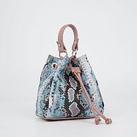 Сумка-мешок, отдел на завязке, длинный ремень, цвет светло-синий