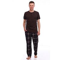 Костюм мужской (футболка, брюки), цвет коричневый, размер 56
