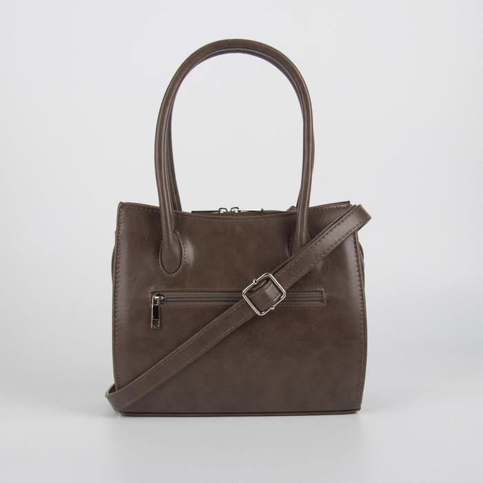 Сумка женская, отдел на молнии, наружный карман, длинный ремень, цвет светло-коричневый - фото 2