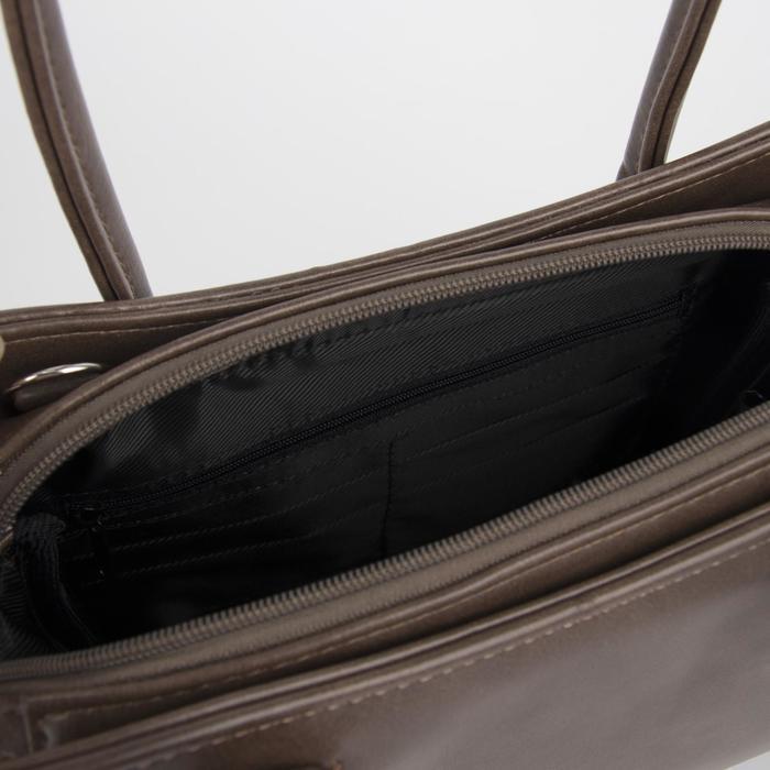 Сумка женская, отдел на молнии, наружный карман, длинный ремень, цвет светло-коричневый - фото 3