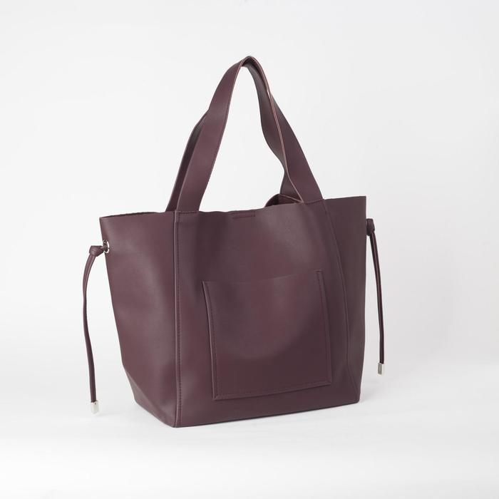 Сумка-шопер, отдел на молнии, наружный карман, цвет коричневый - фото 1