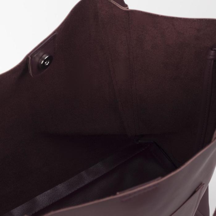 Сумка-шопер, отдел на молнии, наружный карман, цвет коричневый - фото 3