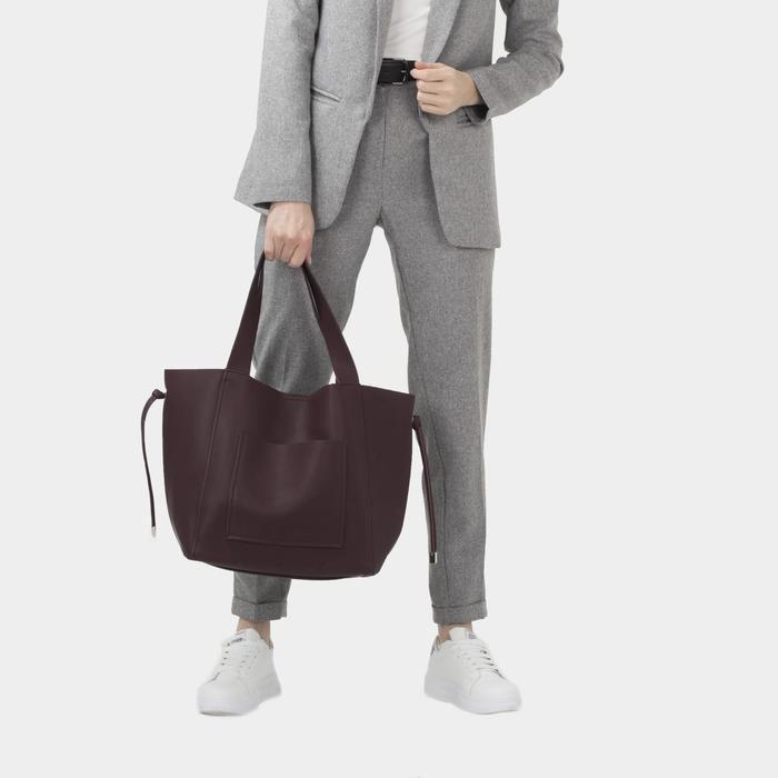 Сумка-шопер, отдел на молнии, наружный карман, цвет коричневый - фото 4