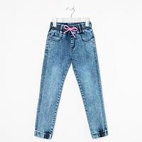 Джинсы-джогеры для девочки, цвет синий, рост 128 см