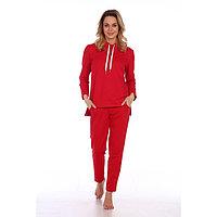 Костюм женский (худи, брюки), цвет красный, размер 54