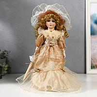 Кукла коллекционная керамика 'Клариса в карамельном платье с рюшами' 40 см