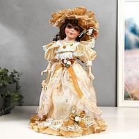 Кукла коллекционная керамика 'Мэри в жёлто-кофейном платье' 40 см