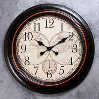 Часы настенные, серия Интерьер, 'Старинная карта' d60 см, дискретный ход