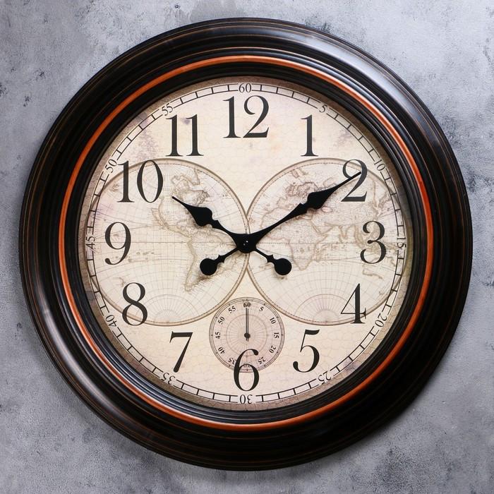 Часы настенные, серия Интерьер, 'Старинная карта' d60 см, дискретный ход - фото 1
