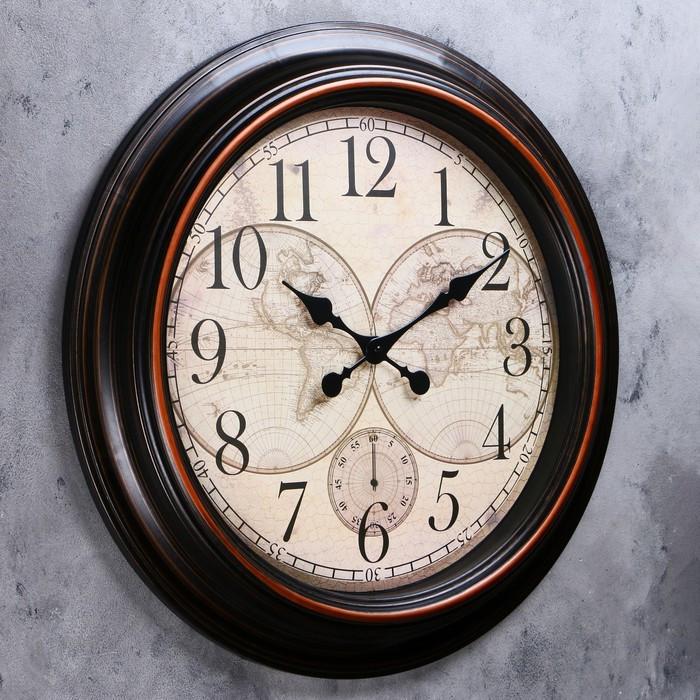 Часы настенные, серия Интерьер, 'Старинная карта' d60 см, дискретный ход - фото 2