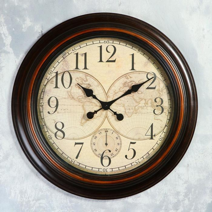 Часы настенные, серия Интерьер, 'Старинная карта' d60 см, дискретный ход - фото 4