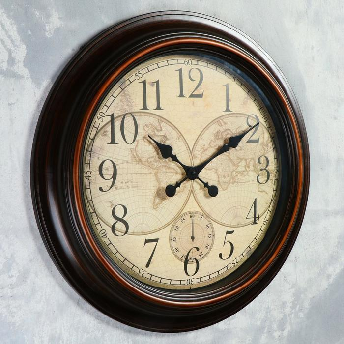 Часы настенные, серия Интерьер, 'Старинная карта' d60 см, дискретный ход - фото 5