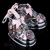 Сувенир с кристаллами Swarovski 'Пара ботиночек' хром 7,7х6 см