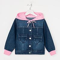 Куртка джинсовая для девочки, цвет синий, рост 98 см