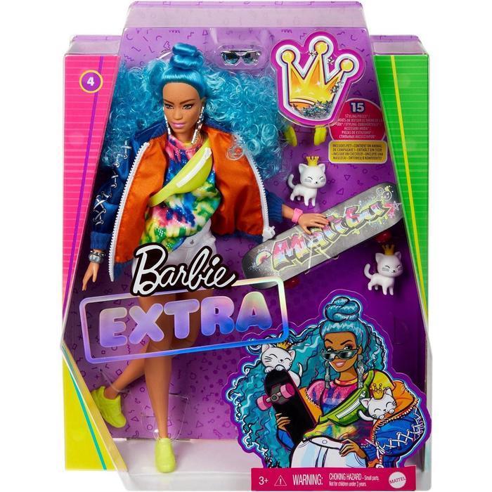 Кукла Барби 'Экстра' с голубыми волосами - фото 1