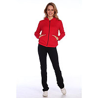 Костюм женский (толстовка, брюки) цвет красный/чёрный, размер 52