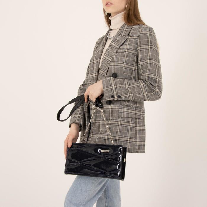 Сумка женская, отдел на молнии, наружный карман, длинный ремень, цвет синий - фото 4