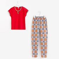 Пижама женская, цвет красный/бежевый, размер 48