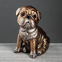 Статуэтка 'Собака 'Мопс' бронзовый цвет, 30 см