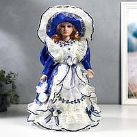 Кукла коллекционная керамика 'Полина в синем платье' 40 см