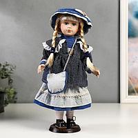 Кукла коллекционная керамика 'Танечка в синем платье с передником' 40 см
