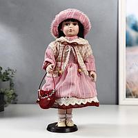 Кукла коллекционная керамика 'Машенька в розовом платье и бежевой накидке' 40 см