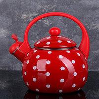 Чайник со свистком Доляна 'Горошек', 2,2 л, фиксированная ручка, цвет красный
