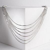 Набор 2 предмета серьги, колье 'Элегантность' косичка, цвет белый в серебре, 100 см