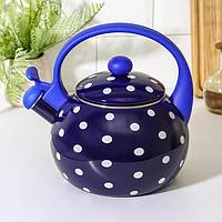 Чайник со свистком Доляна 'Горошек', 2,2 л, фиксированная ручка, цвет синий