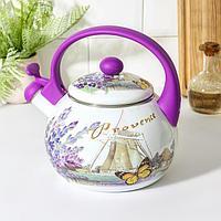 Чайник со свистком Доляна 'Весна', 2,2 л, фиксированная ручка, цвет фиолетовый