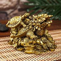 Нэцкэ полистоун под бронзу 'Драконочерепаха с черепахой на монетах' 12х19х12,5 см