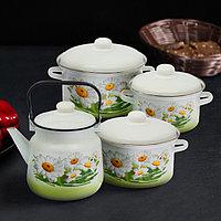 Набор посуды 'Ромашковое поле', 4 предмета кастрюли 2 л, 3 л, 4 л, чайник 3,5 л