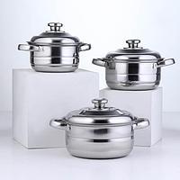 Набор посуды 'Базис', 3 кастрюли 16/18/20 см, с металлическими крышками, индукция