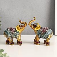 Сувенир 'Слоны в попоне с розами', набор из 2-х шт