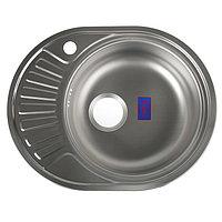 Мойка кухонная 'Владикс', врезная, с сифоном, 57х45 см, правая, нержавеющая сталь 0.6 мм