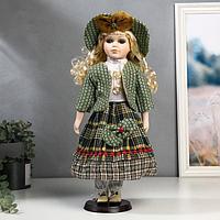Кукла коллекционная керамика 'Блондинка с кудрями, зелёный наряд' 40 см