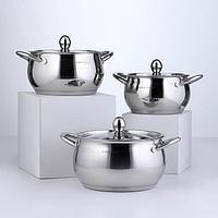 Набор посуды 'Танто', 3 предмета 2 л, 2,8 л , 3,8 л , индукция, цвет хромированный