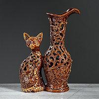 Ваза настольная 'Кот с кувшином', керамика, резка, 32 см