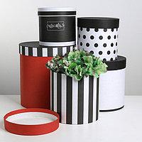 Набор круглых подарочных коробок 5 в 1, 'ЧК', 15 x 15 x 15 - 23 x 23 x 25 см