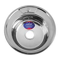 Мойка кухонная MIXLINE 528182, врезная, толщина 0.6 мм, 49х49х17 см, вып. 3 1/2', с сифоном