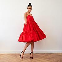 Платье на бретелях MIST, р. 48, красный