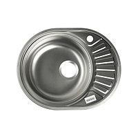 Мойка кухонная 'Владикс', врезная, с сифоном, 57х45 см, левая, нержавеющая сталь 0.6 мм