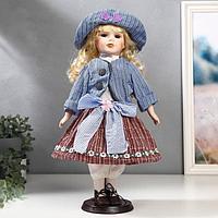 Кукла коллекционная керамика 'Блондинка с кудрями, розовая юбка и голубой пиджак' 40 см