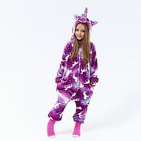 Кигуруми детский 'Единорог с рисунком', фиолетовый с белым животом, рост 140 см