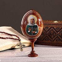Сувенир Яйцо на подставке икона 'Матрона Московская'