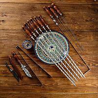 Набор узбекских шампуров 50см, + аксессуары, 'Шархон' 14 предм.