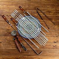 Набор узбекских шампуров 60см, + аксессуары, 'Шахрисабз' 14 предм.