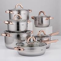 Набор посуды 'Голд', 6 предметов ковш 2,1 л, кастрюли 2,1 л, 2,9 л, 3,9 л, 6,6 л, сотейник с антипригарным