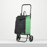 Сумка-тележка, отдел на шнуре, колёса 16,5 см, нагрузка до 40 кг, цвет чёрный/зелёный