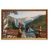 Гобеленовая картина 'Поэзия гор с парусником' 50х70 см(52х80см)